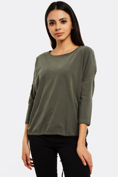 Olive Green Blouse With Round Neck