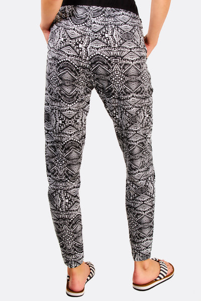 Black Patterned Trousers