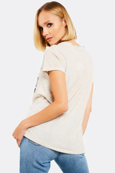 Beige Cotton T-Shirt With Print