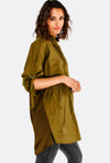 Olive Green Cotton Oversized Shirt