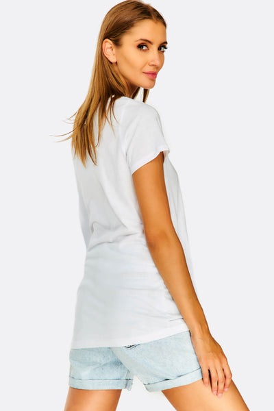 White Cotton T-Shirt With Chest Print