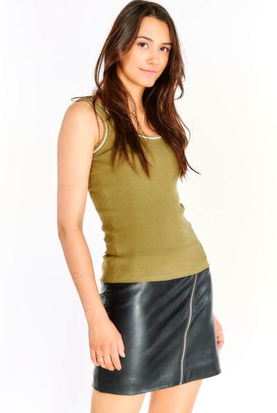 Olive Green Textured Top