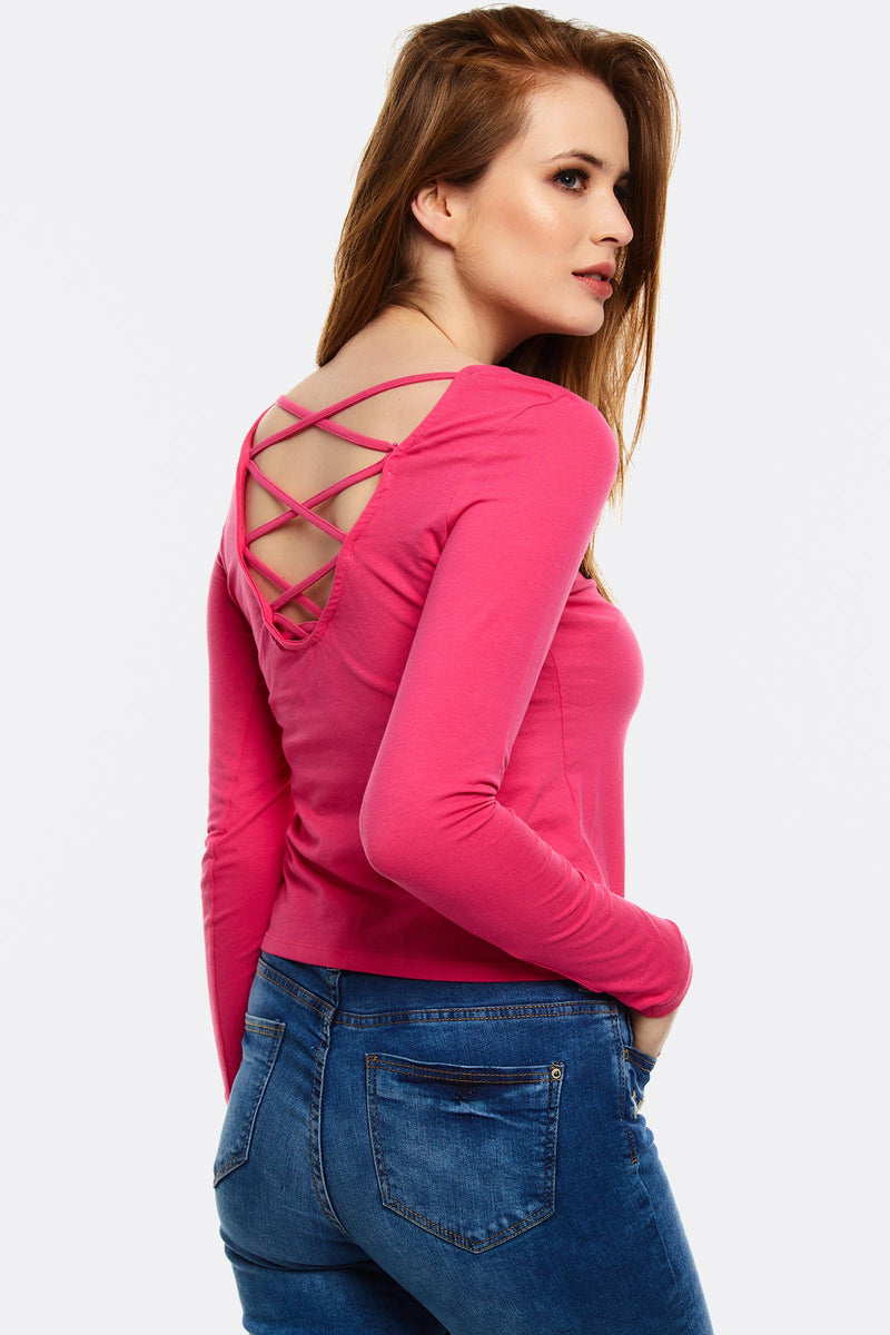 Bright Pink Blouse With Criss-Crossed Back