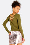 Olive Green Blouse With Criss-Crossed Back Detail