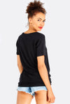 Black T-Shirt With Soft V-Neck