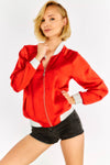 Red Sports Jacket With White Hem