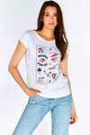 White T-Shirt With Front Print