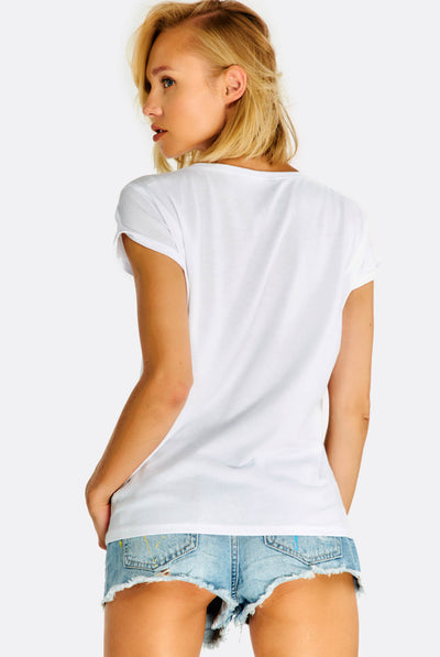 White T-Shirt With Text Print