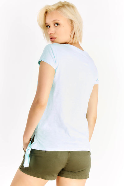 Pale Turquoise T-Shirt With Tie Side