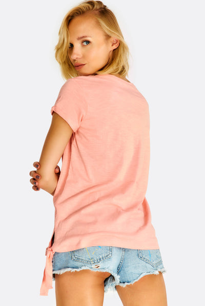 Pink Cotton T-Shirt With Tie Side