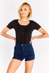 Navy Denim Shorts With High Waist