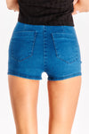 Dark Blue Denim Shorts With High Waist