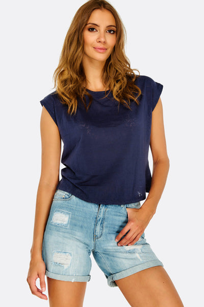 Navy Crop Top