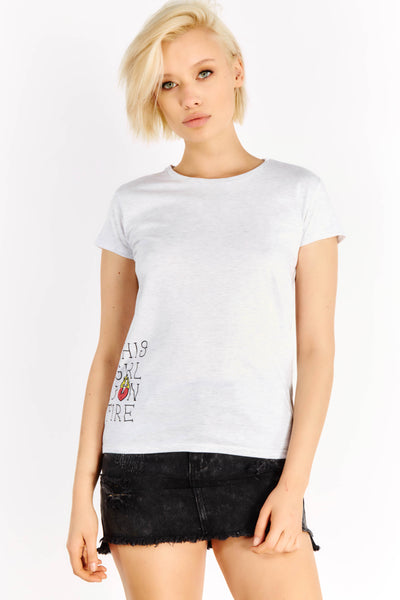 Light Grey Cotton T-Shirt With Front Print