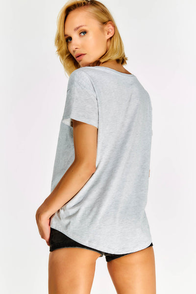 Grey Cotton T-shirt With Print