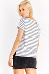 White Striped T-Shirt With Side Slits