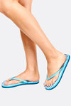 Light Blue Striped Flip Flops