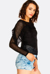 Black Lace Ruffled Top