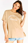 Beige Oversized T-shirt With Slogan