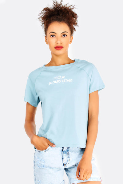 Light Blue Cotton T-Shirt With Text Print