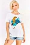 White T-shirt With Multicolour Print