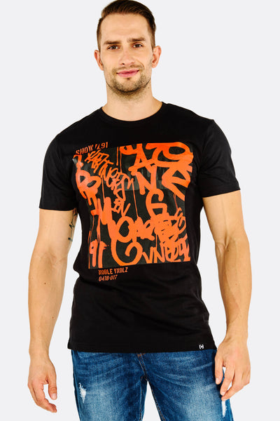 Black Printed Cotton T-Shirt