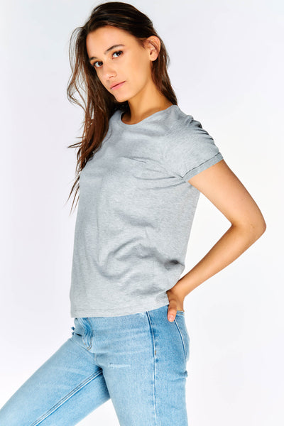 Grey Cotton T-Shirt With Chest Pocket