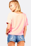 Peach Printed Crop T-Shirt