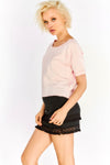 Pale Pink T-Shirt With Rolled Sleeves