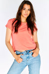 Coral Cotton T-Shirt With Back Slit