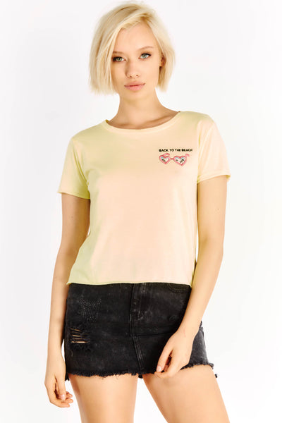 Yellow T-Shirt With Stitched Detail On The Chest