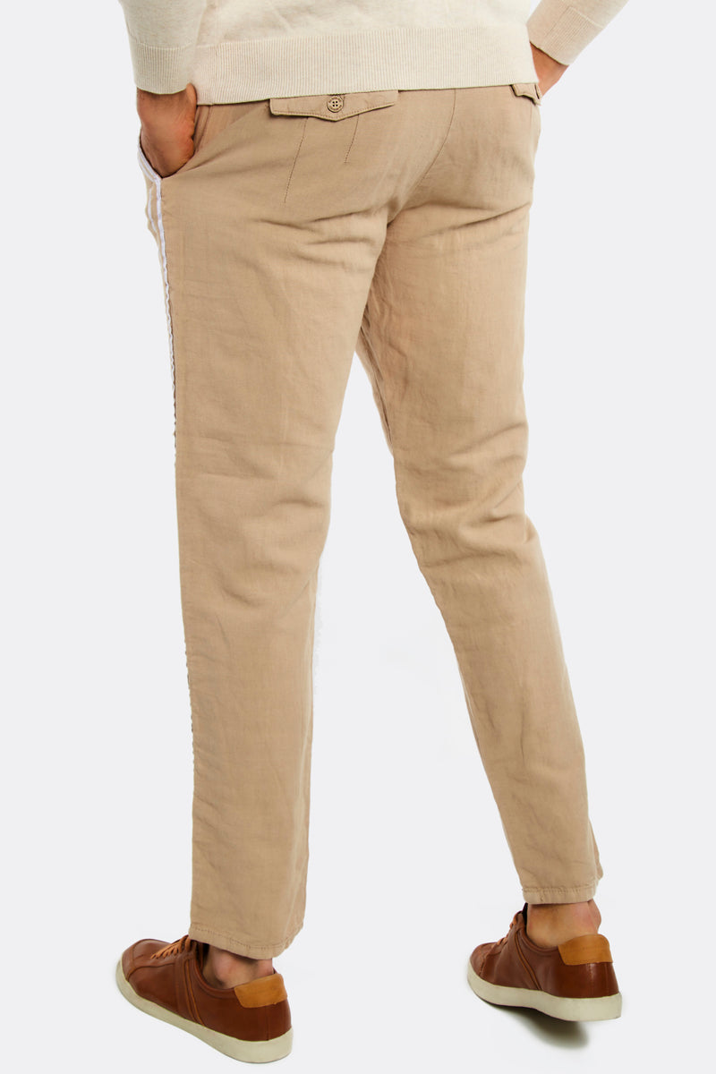 Mens trousers with white stipes