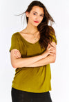 Olive Green T-Shirt With V-Neck