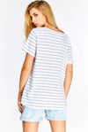 White Loose Striped T-Shirt