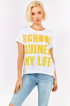 White Cotton T-shirt With Yellow Slogan