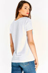 White Cotton T-shirt With Multicolour Print