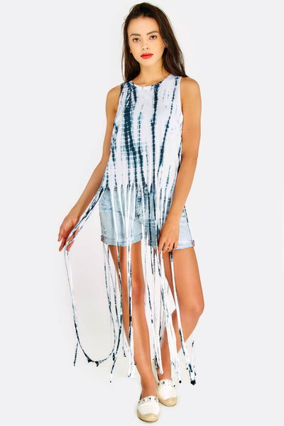 White Printed Cotton Top With Long Fringes