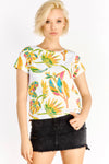 White T-Shirt With Leaves Print