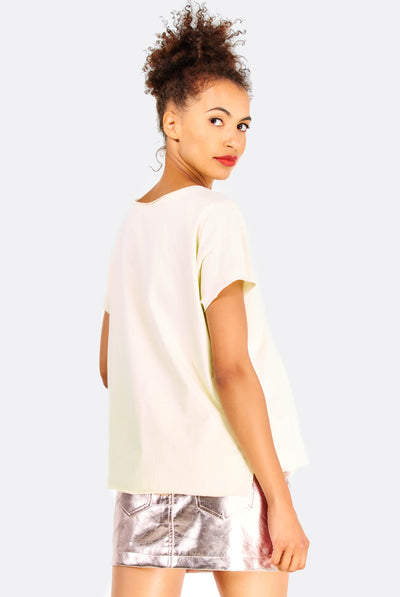 Light Yellow Cotton T-Shirt With Appliques