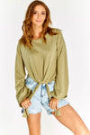 Khaki Cotton Blouse With Tie Front