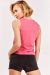 Pink Tie Front Sleeveless Top