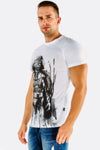 White Cotton T-Shirt With Darth Vader Print