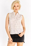 Light Pink Sleeveless Shirt With Stars Pattern