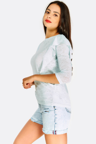 Pale Blue Blouse With Ruffles