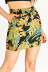Leaf Print Mini Pencil Skirt