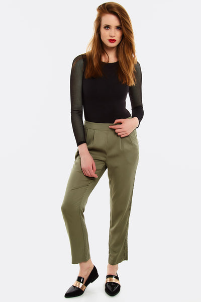 Khaki Trousers With Lace Detail