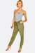 Khaki Trousers With Drawstring Through Waist