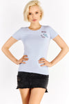 Blue T-Shirt With Chest Embroideries
