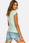 Pale Green Printed Cotton T-Shirt