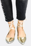 Golden Pointed Flat Shoes With Ankle Straps